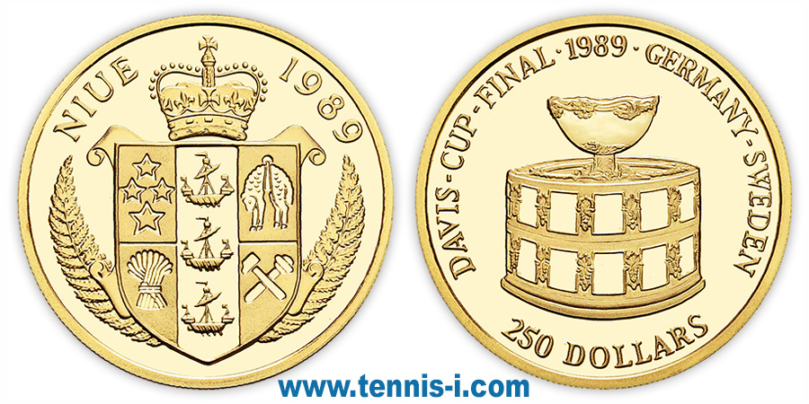 tenniscoin Niue 250 Dollar Davis Cup final 1989