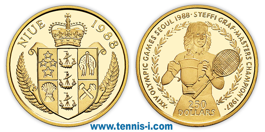 tennis coin Niue 250 Dollar Olympic Games Seoul Graf 1988