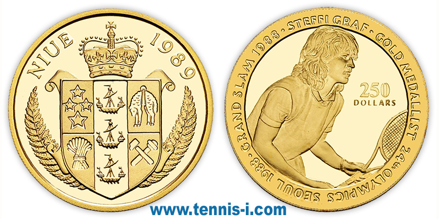 tennis coin Niue 250 Dollar Olympic Games Seoul Graf 1989