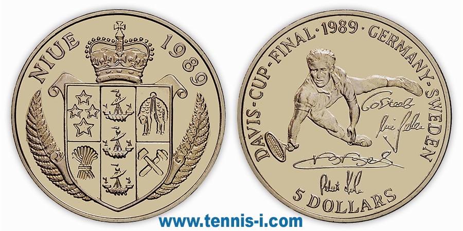 tennis coin Niue 5 Dollar Davis Cup Final 1989