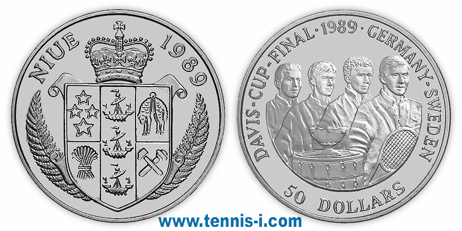 tennis i.com coin Niue 50 Dollar Davis Cup Final 1989