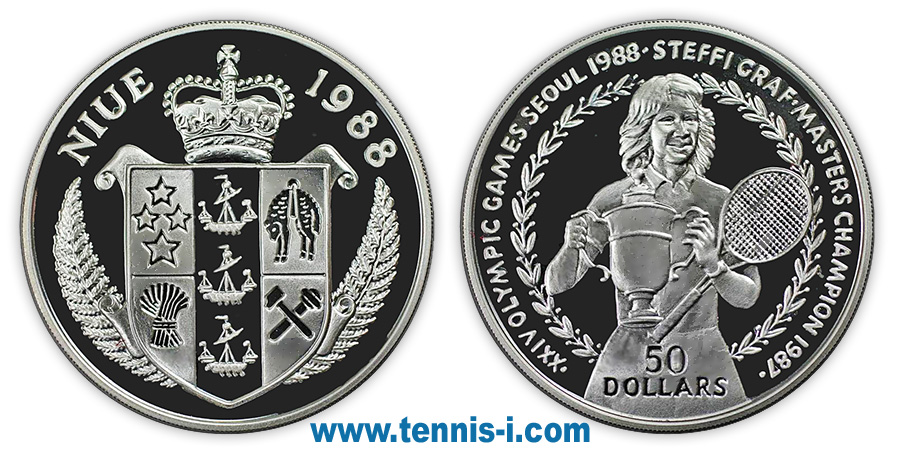tennis coin Niue 50 Dollar Olympic Games Seoul Graf 1988