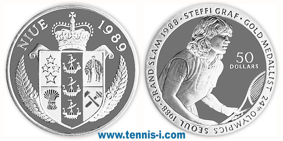 tennis coin Niue 50 Dollar Olympic Games Seoul Graf 1989
