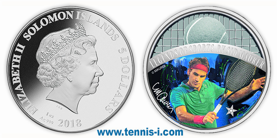 tennis coin Solomon Islands 5 dollar Sports Legends Roger Federer 2018
