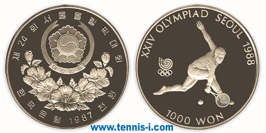 tennis coin South Korea 1000 won Olympic Games Seoul 1987