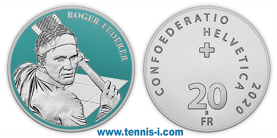 tennis coin Switzerland 20 francs Federer 2020