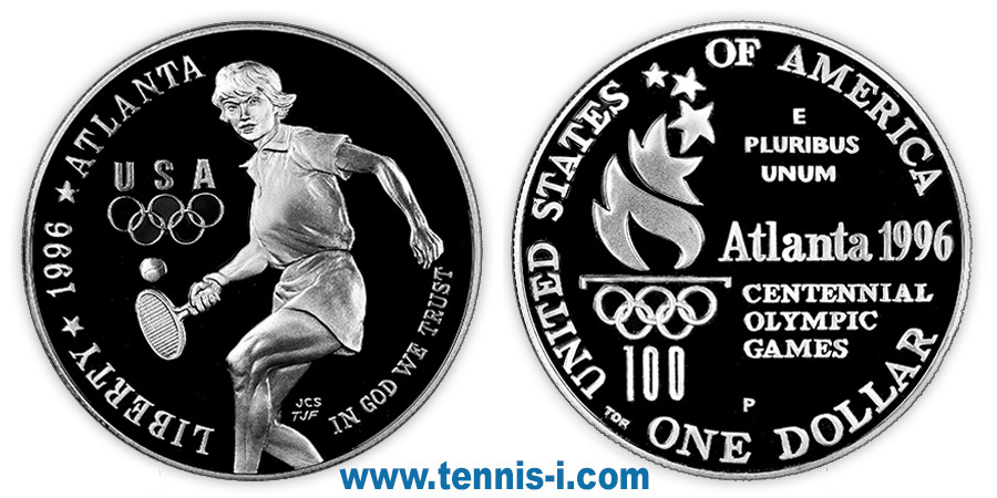 tennis coin USA 1 Dollar XXVI Olympiad 1996