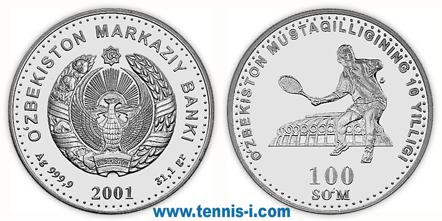 tennis coin Uzbekistan 100 Soʻmr 10 Anniversary of Independence Uzbekistan 2001