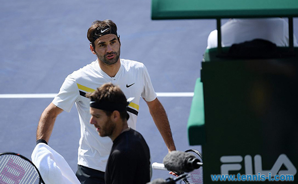 Federer argues with the umpire Indian Wells 2018