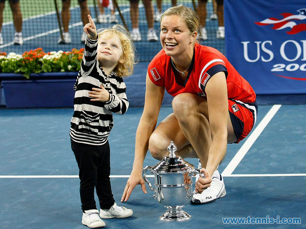 tennis Clijsters with son